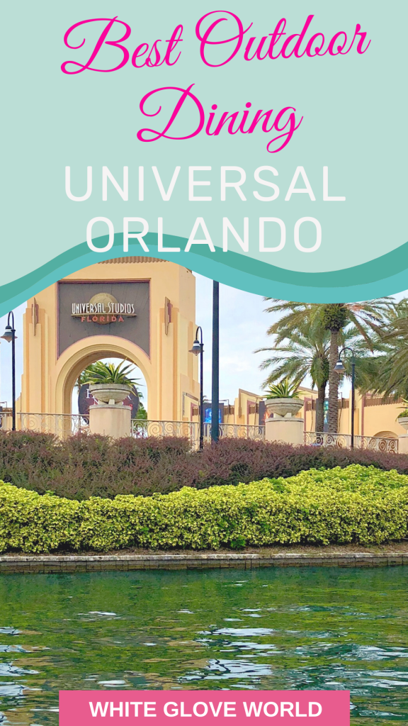 """According to the CDC, the risk of Covid-19 transmission outdoors is significantly lower than indoor spaces. No wonder Zagat's calls eating outdoors """"the future of dining."""" Be safe while traveling! Here's the best of the best outdoor dining spots at Universal Orlando Resort. #Coronavirus #UniversalOrlando #travel #dining #restaurants"""