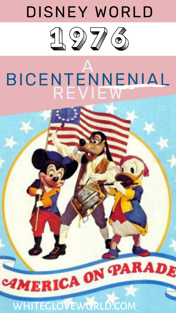 Disney World in 1976 features the memorable Disney America on Parade; 50 Days to 50 Years celebrates the countdown to its 50th anniversary. #DisneyWorld50 #50Daysto50Years #AmericasBicentennial #1976 #Disneyhistory #AmericaonParade