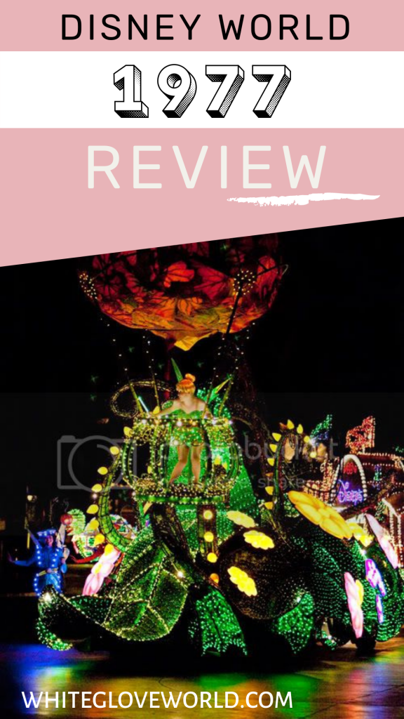 The Walt Disney World 1977 review includes the Main Street Electrical Parade, Empress Lilly riverboat, and the Baby Care Center. #DisneyWorld50 #50Daysto50Years #Disneyhistory #WDW1977 #WhiteGloveWorld