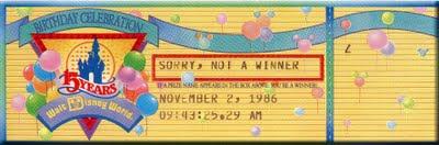 Walt Disney World 15th Anniversary Ticket