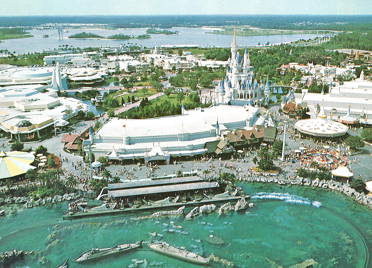 An aerial view of Magic Kingdom in 1973