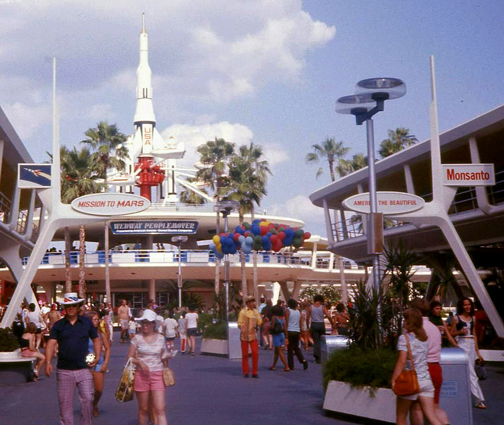 """Walt Disney World 1975; the WEDWay PeopleMover (now known as the Tomorrowland Transit Authority, ot """"TTA,"""" opens in Tomorrowland."""