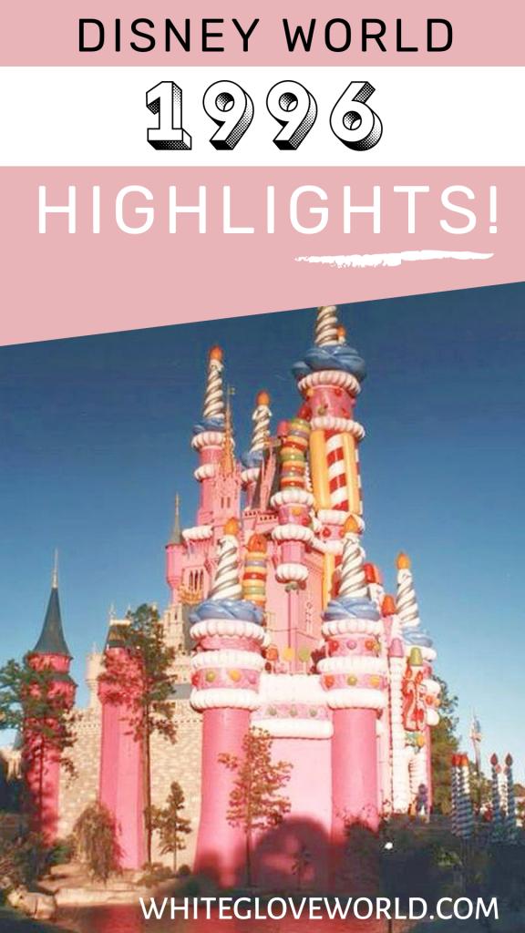 Walt Disney World 1996 highlights: a 25th-birthday party, the first Mickey's Not-So-Scary Halloween Party and Boardwalk Inn & Villas debuted. #DisneyWorld50 #50Daysto50Years #Disney #Disneyhistory #CastleCake #DisneyWorld25thBirthday #NotSoScary #HalloweenParty