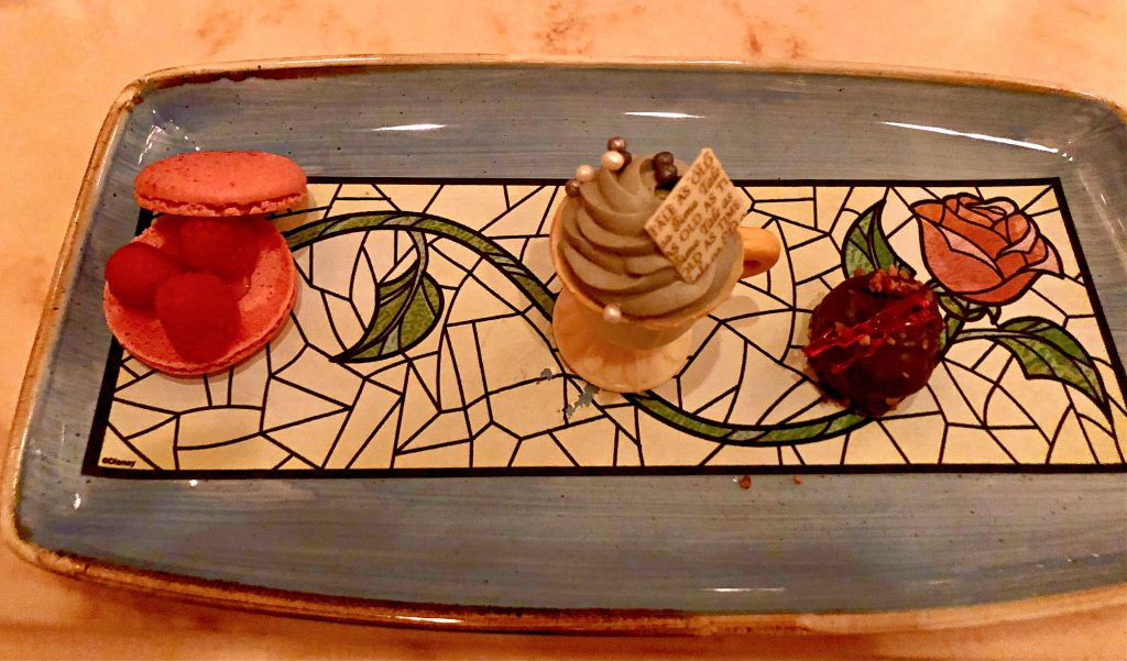 The Grey Stuff featured in Be Our Guest Restaurant Dessert Trio.